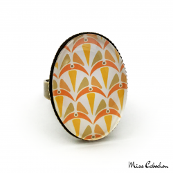 Oval ring - Art deco collection - Shades of orange