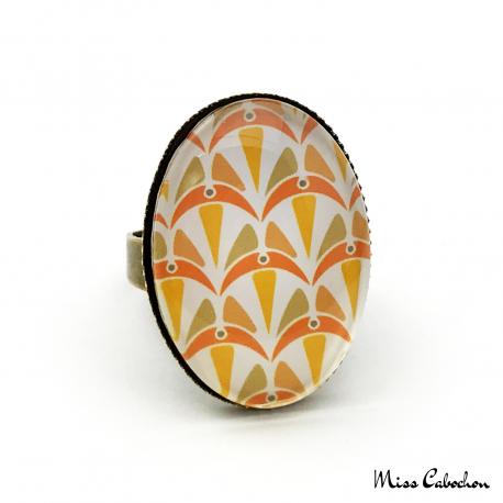 Bague ovale - Collection Art déco - Camaïeu de oranges