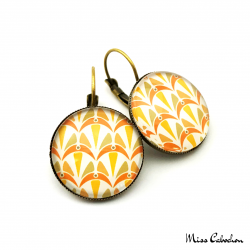 Boucles d'oreille dormeuse - Collection Art déco - Camaïeu de oranges