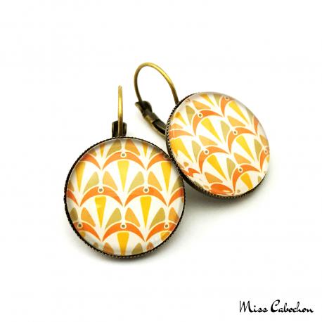 Boucles d'oreille dormeuse - Collection Art déco - Camaïeu de oranges