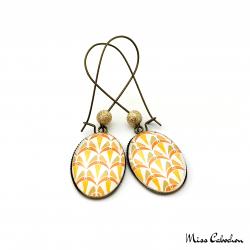 Boucles d'oreille pendantes - Collection Art déco - Camaïeu de oranges