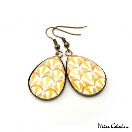 Boucles d'oreille en forme de goutte d'eau - Collection Art déco - Camaïeu de oranges