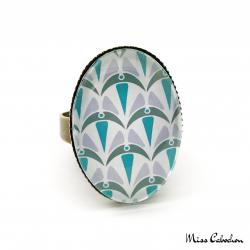 Bague ovale - Collection Art déco - Camaïeu de bleus
