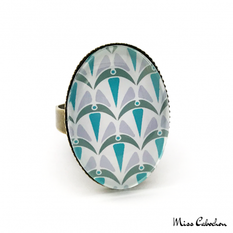 Oval ring - Art Deco Collection - Blue Camaïeu