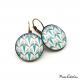 Boucles d'oreille rondes - Collection Art déco - Camaïeu de bleus