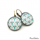 Round earrings - Art Deco Collection - Blue Camaïeu