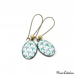 Boucles d'oreille pendantes - Collection Art déco - Camaïeu de bleus