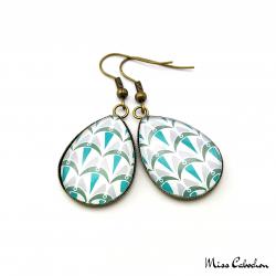 Boucles d'oreille en forme de goutte d''eau - Collection Art déco - Camaïeu de bleus