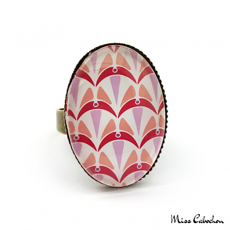 Oval ring - Art deco collection - Shades of red