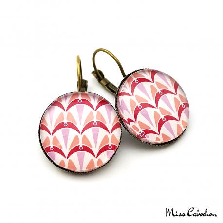 Boucles d'oreille rondes - Collection Art déco - Camaïeu de rouges