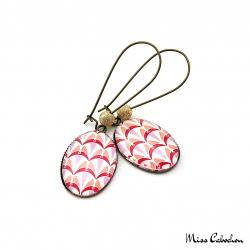 Oval earrings - Art deco collection - Shades of red