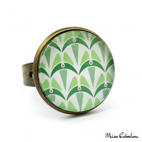 Bague - Collection Art déco - Camaïeu de verts