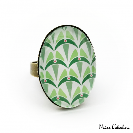 Bague ovale - Collection Art déco - Camaïeu de verts