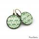 Boucles d'oreille rondes - Collection Art déco - Camaïeu de verts