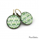Round earrings - Art deco collection - Shades of green