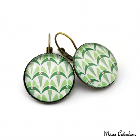 Boucles d'oreille rondes - Collection Art déco - Camaïeu de verts