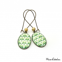 Boucles d'oreille ovales - Collection Art déco - Camaïeu de verts