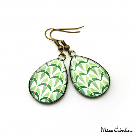 Teardrop earrings - Art deco collection - Shades of green