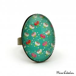 Blue-green fashion ring
