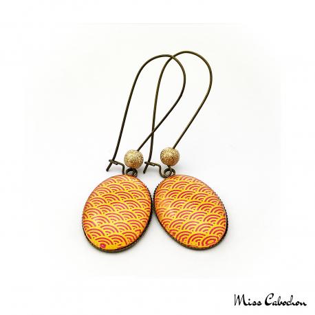 Boucles d'oreille ovales - Inspiration japonaise