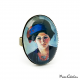 "Oval ring ""The artist's wife in blue hat"" by August Macke"