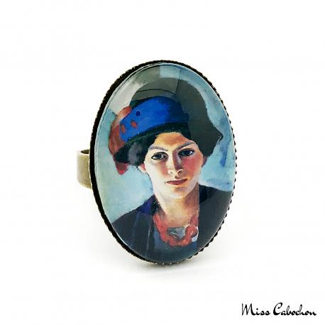 """Bague ovale """"Femme de l'artiste au chapeau"""" par August Macke"""