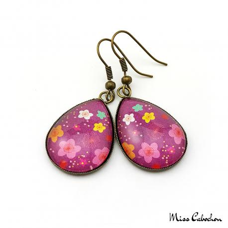 Boucles d'oreille Fleurs multicolores