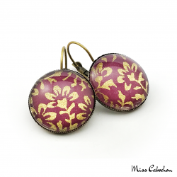 Round earrings - Purple and Golden - Japanese inspiration