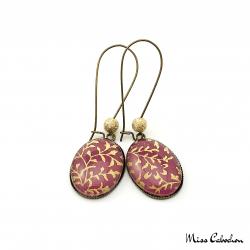 Boucles d'oreille ovales - Violet - Or - Inspiration japonaise