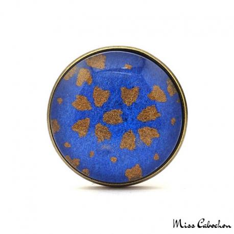 Bague bleu outremer à motifs japonais