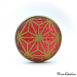Bague rouge à motifs japonais