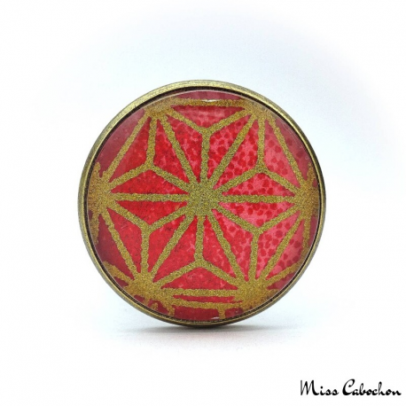 Red japanese patterns ring