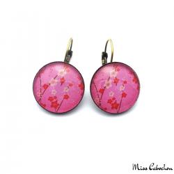 Pink leverback earrings