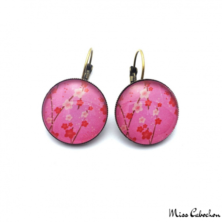 Pink leverback earrings