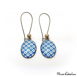 Checkerboard Oval Earrings - Blue and White