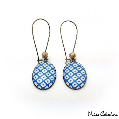 Boucles d'oreille ovales - Damier bleu et blanc
