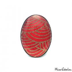 Bague ovale rouge