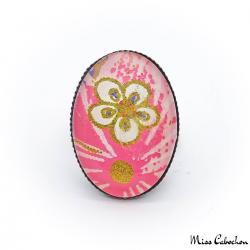 Bague ovale rose - Inspiration japonaise