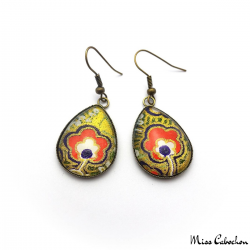 Cabochon earrings - Japanese inspiration