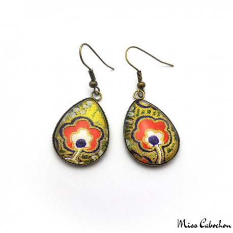 Boucles d'oreille cabochon - Inspiration japonaise
