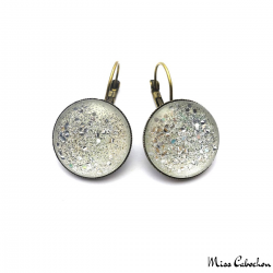Fancy earrings with silver glitter