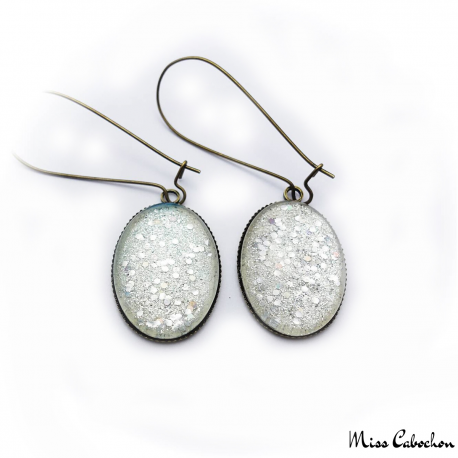 Dangle earrings - Silver glitter
