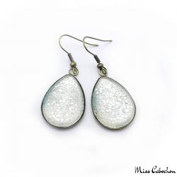 Cabochon earrings - Silver glitter