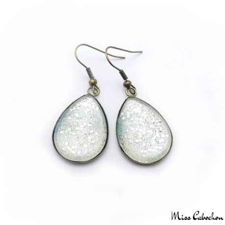 Cabochon earrings - Silver glitter