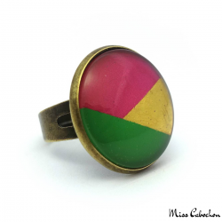 Tricolor ring - Red, Green and Golden