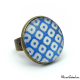 Checkerboard Ring - Blue and White