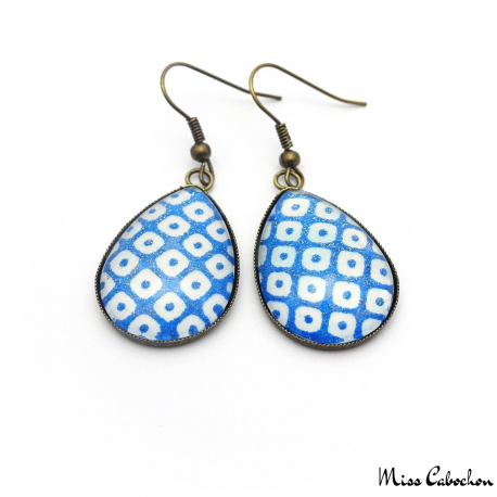 Boucles d'oreille Goutte - Damier - Bleu et blanc