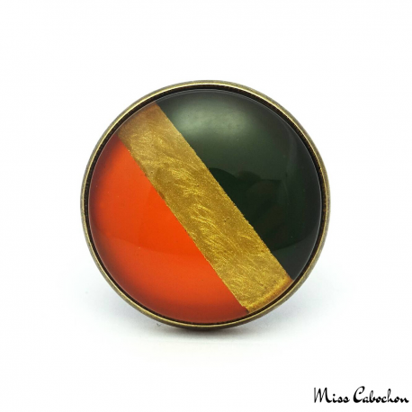 Tri Color Ring - Orange, Gold and Black Olive Green