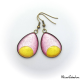 Teardrop earrings - Golden Moon on Pink