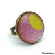 Fashion ring - Golden Moon on Pink